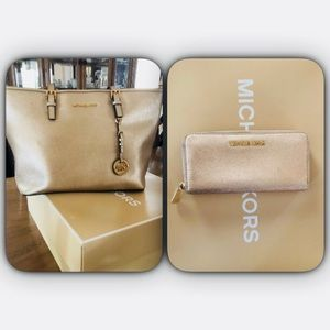 Michael Kors Gold Tote with Matching Wallet